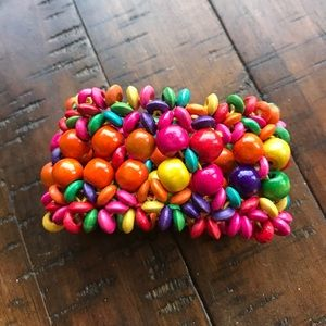 Jewelry - Multicolored Wooden Bead Stretchy Bracelet